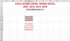 Cách xuống dòng trong Excel 2007, 2010, 2013, 2016