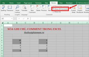 Cách xóa ghi chú, comment trong Excel