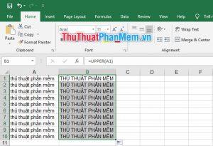 Viết hoa chữ cái đầu trong Excel