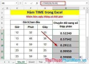 Hàm TIME - Hàm trả về số thập phân cho 1 giá trị thời gian cụ thể trong Excel
