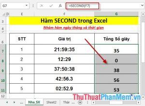 Hàm SECOND - Hàm trả về phần giây của 1 giá trị thời gian trong Excel