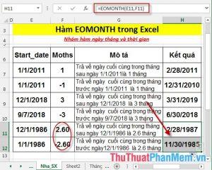 Hàm EOMONTH - Hàm trả về ngày cuối cùng trong tháng trước hoặc sau 1 ngày một số tháng xác định trong Excel