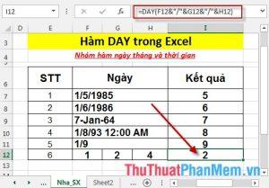 Hàm DAY - Hàm trả về giá trị ngày của ngày tháng cụ thể nào đó trong Excel